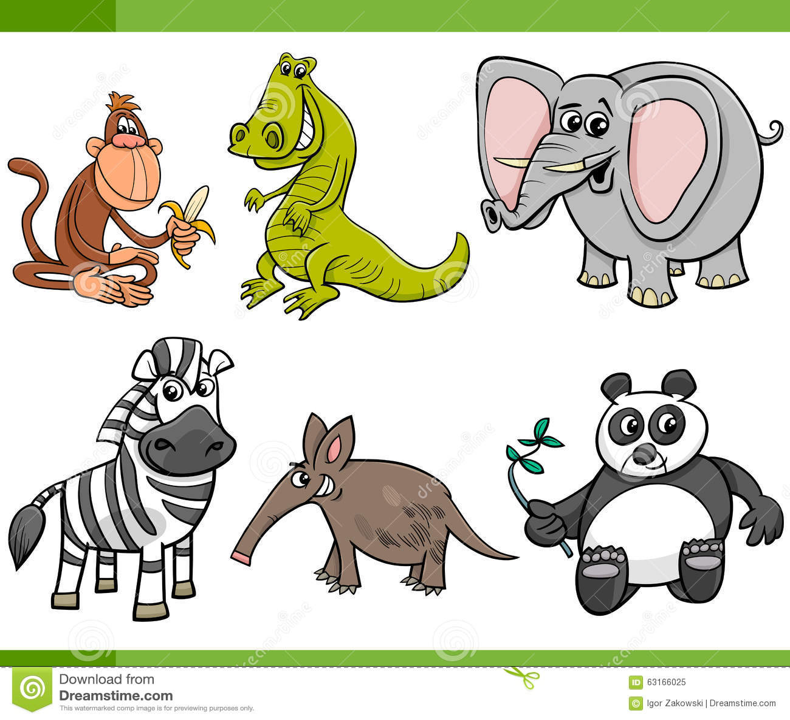 wild animals cartoon set stock vector image 63166025. Black Bedroom Furniture Sets. Home Design Ideas