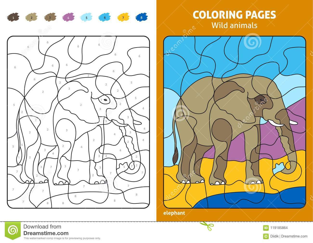 Wild Animals Coloring Page For Kids, Elephant. Stock Vector ...