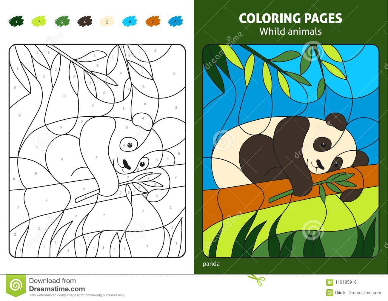 Wild Animals Coloring Page For Kids Panda Bear Stock Vector