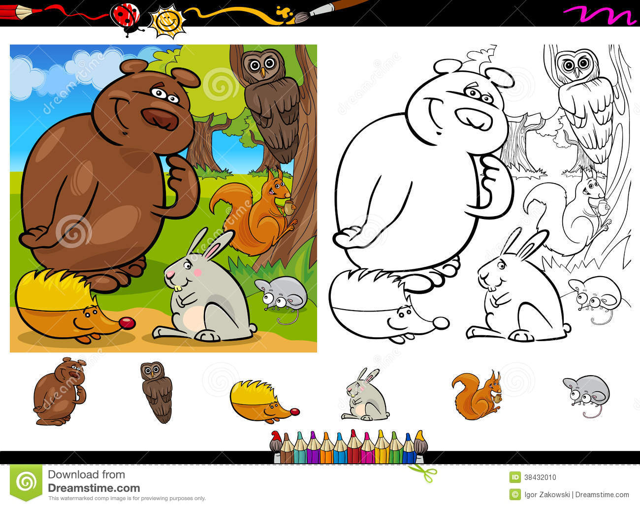 Free coloring pages wild animals - Wild Animals Coloring Page Set Stock Photo