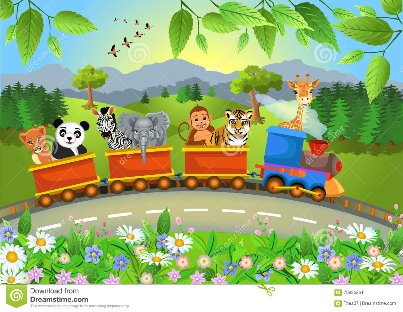 Wild animals going by train