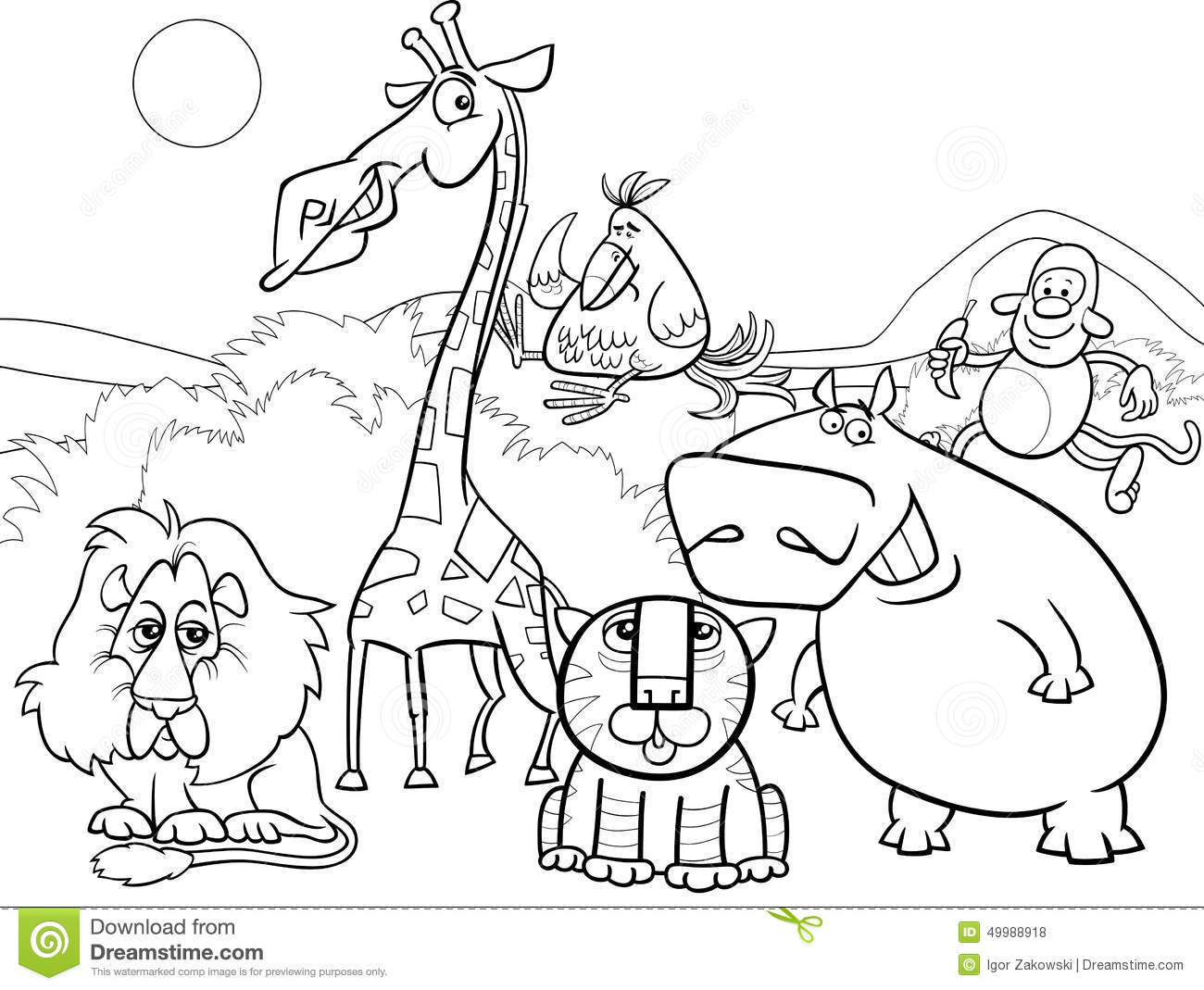 Wild Animals Group Coloring Page Stock Vector - Illustration