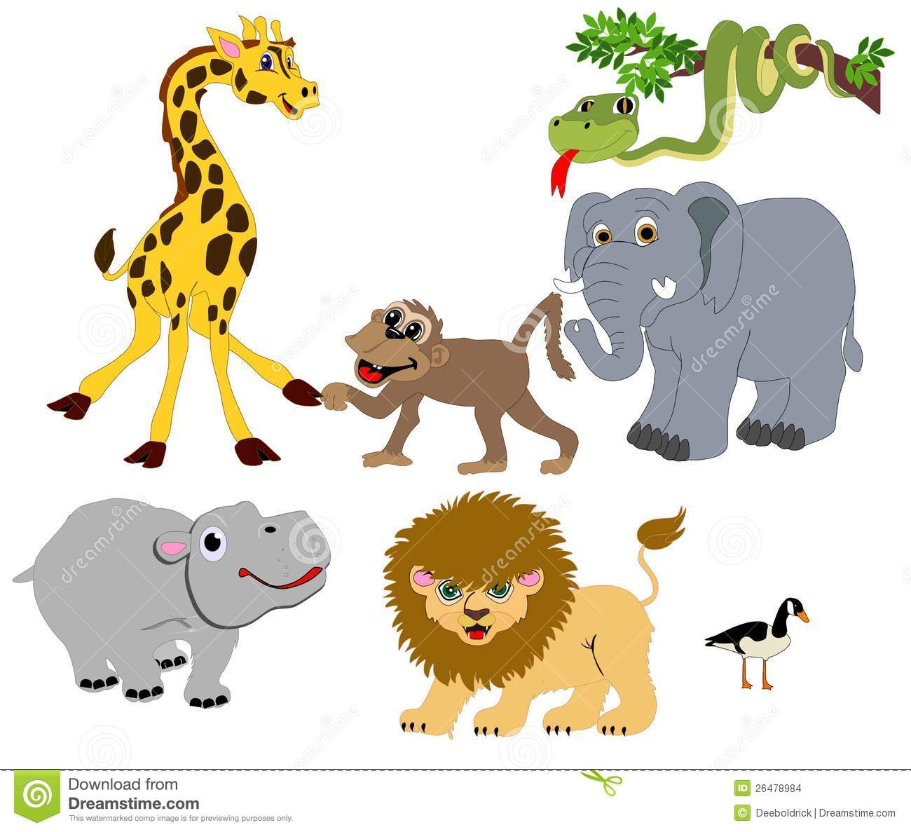 Wild Animals Illustrations Isolated For Many Usage Stock