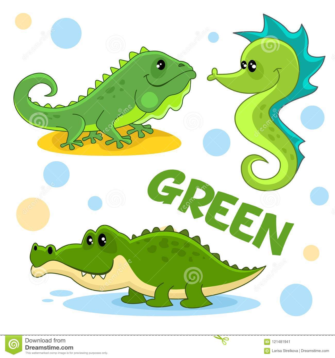 wild animals and insects of green color 3 stock vector