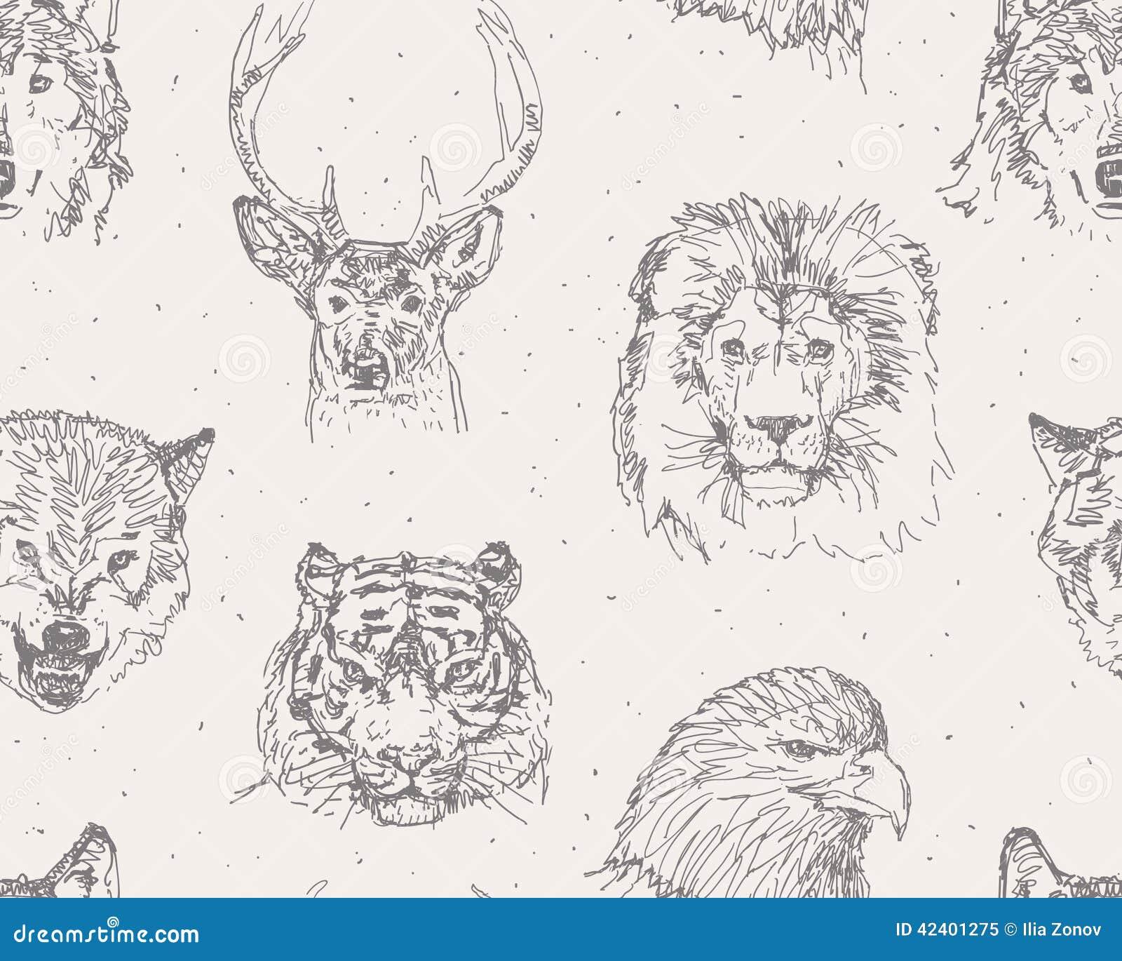 Wild Animals Pattern Stock Vector