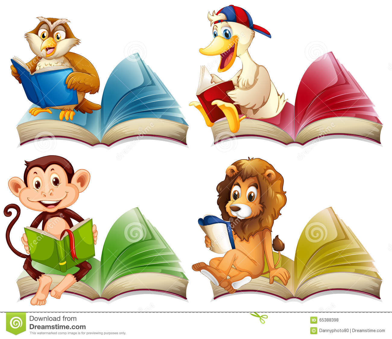 free clip art animals reading books - photo #42