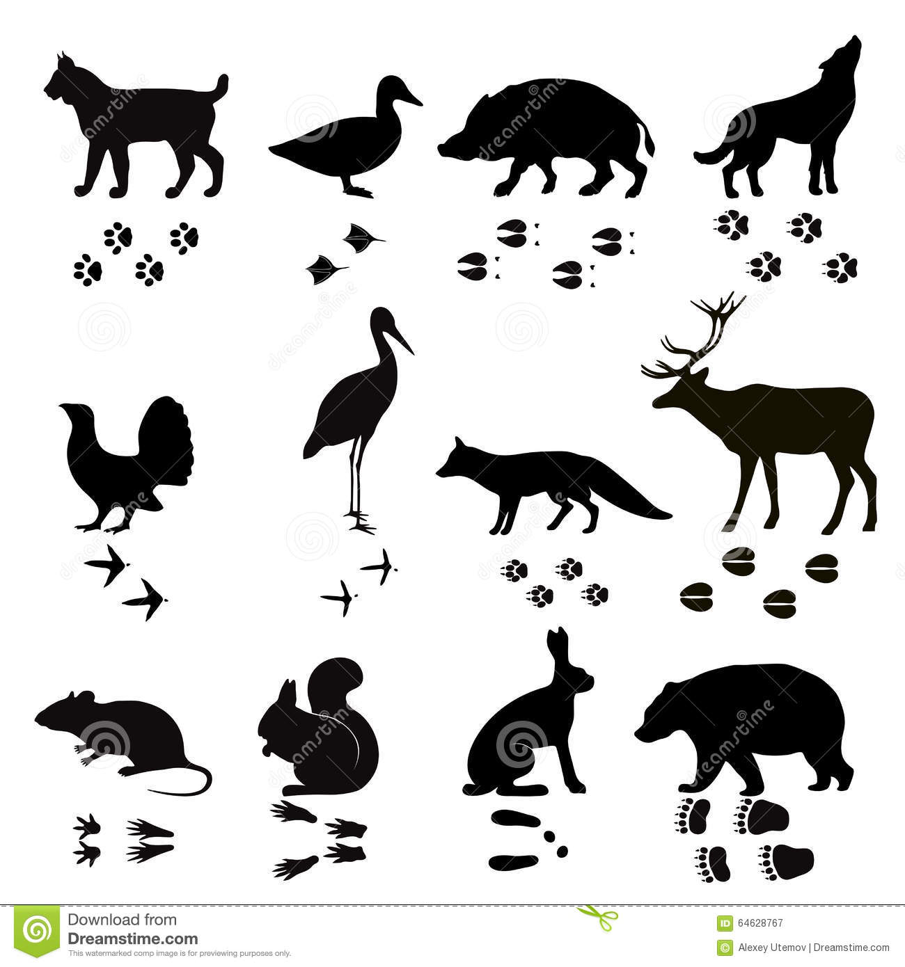 wild animals vector paw footsteps black silhouette stock deer silhouette vector free download deer head silhouette vector image