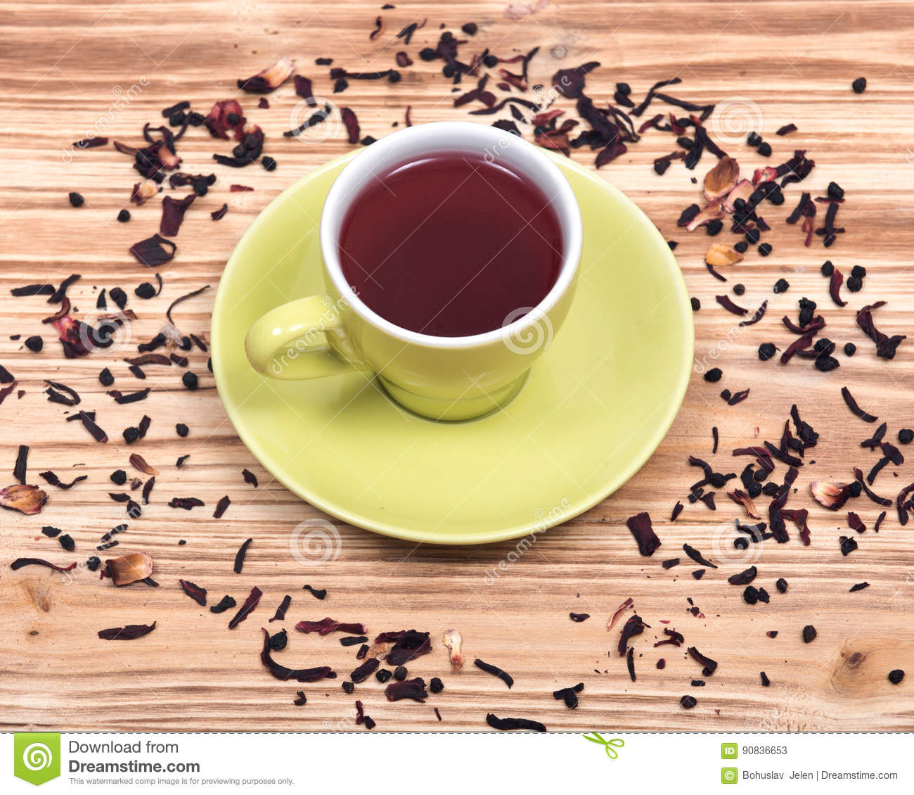 Wild Berry Tea In Green Cup With Hibiscus Leafs Stock Image Image