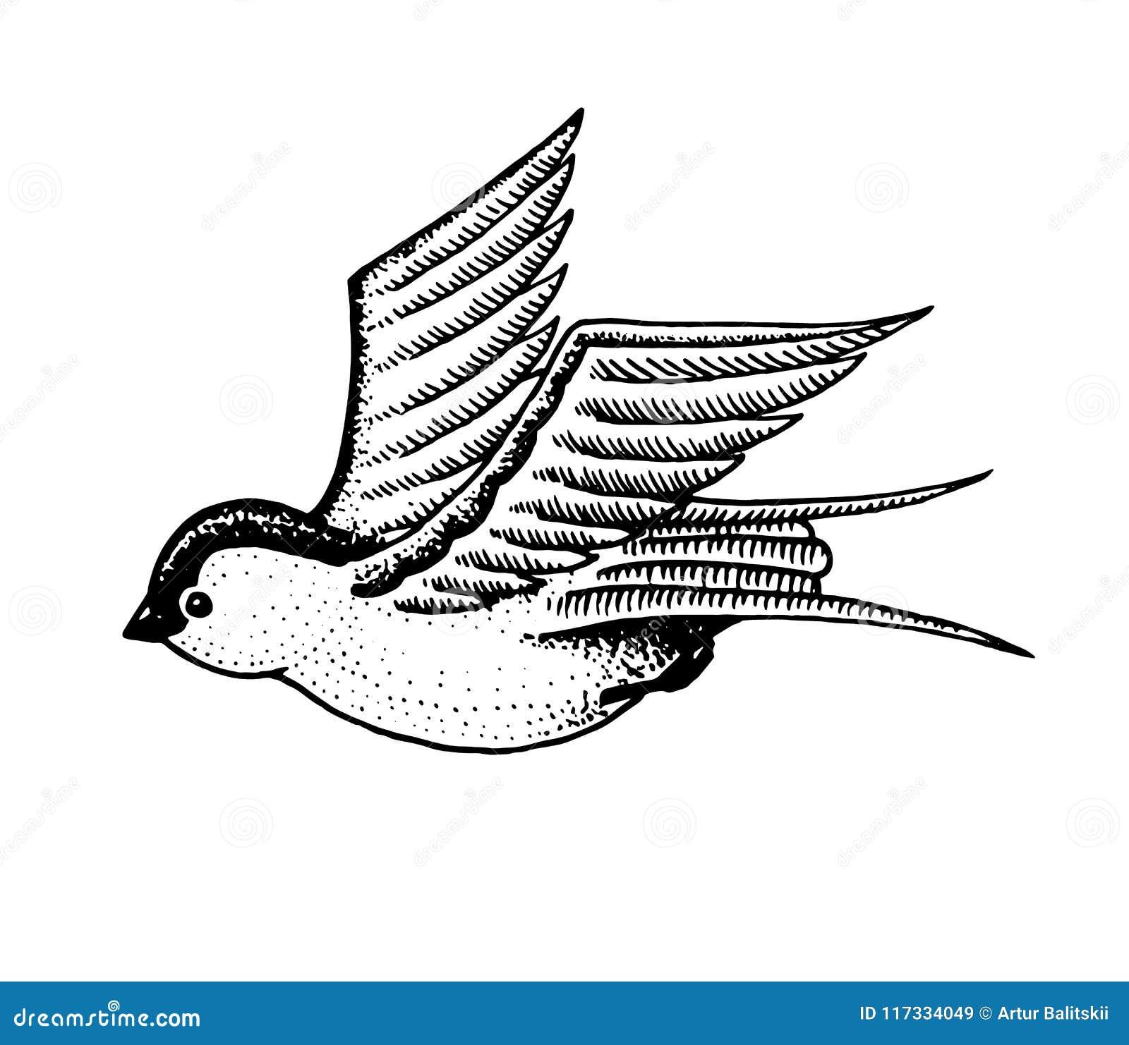 Wild Bird Swallow Symbol Of Freedom Fashion Patch Tattoo Artwork