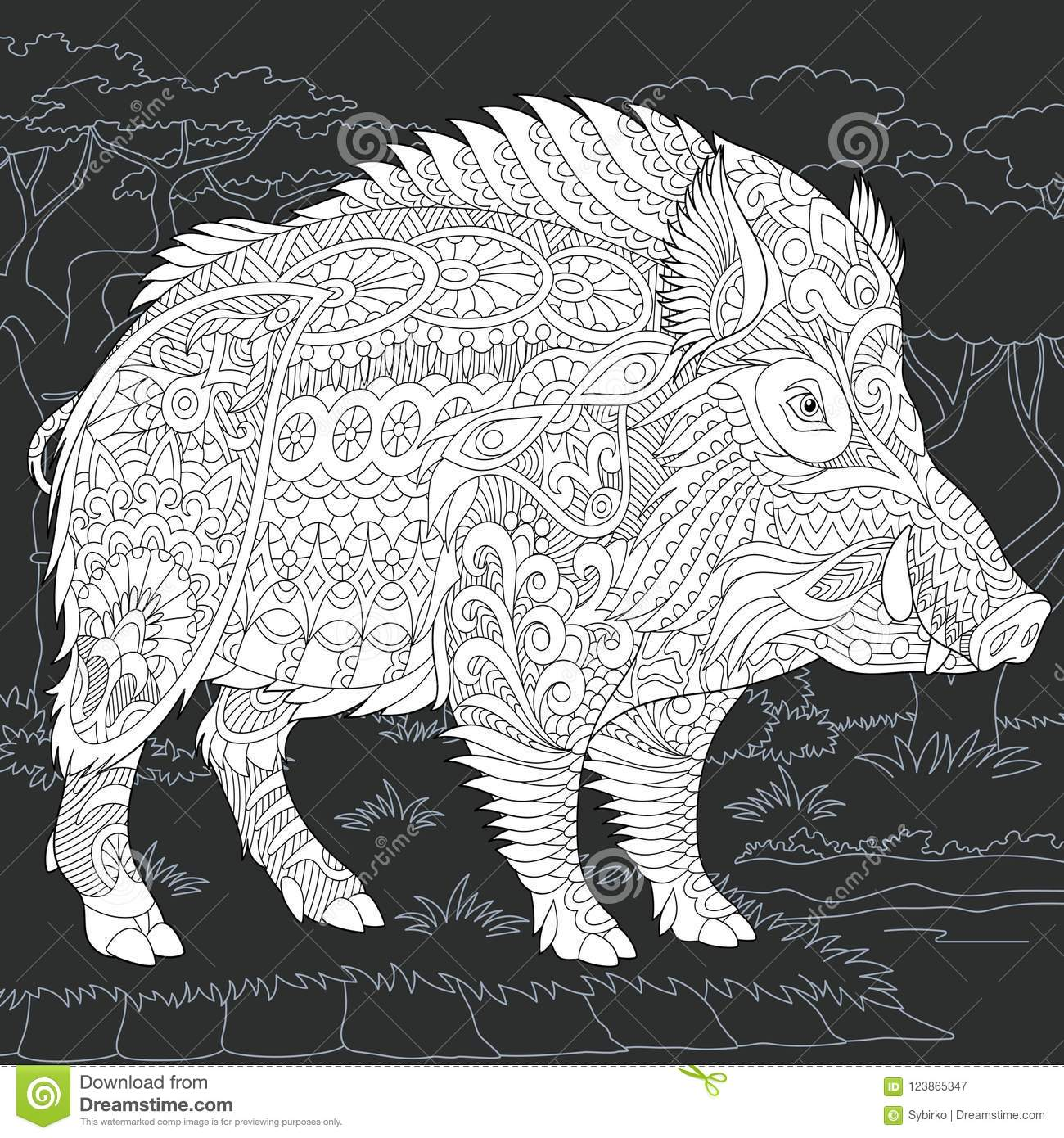 Wild boar in black and white style stock vector illustration of