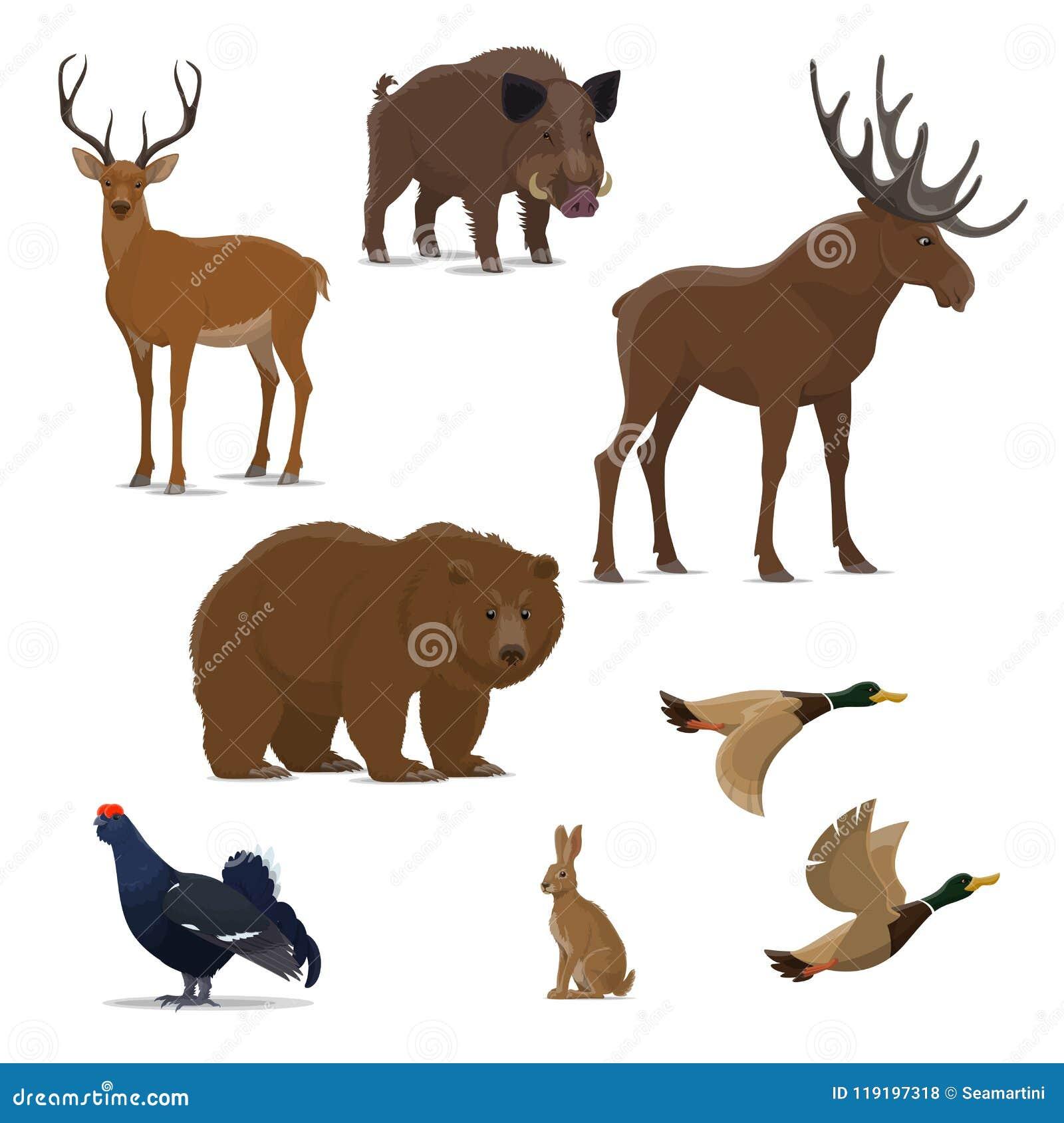 Wild bosdier en vogelpictogram van de jachtsport