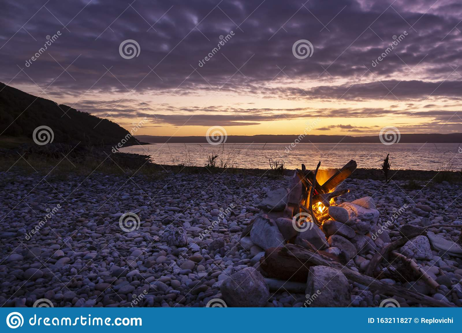 Wild Camping Fire On Arran Beach Stock Image - Image of ...