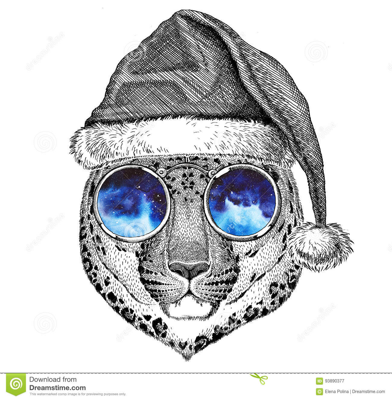 Wild cat Leopard Cat-o`-mountain Panther wearing christmas hat New year eve Merry christmas and happy new year Zoo life
