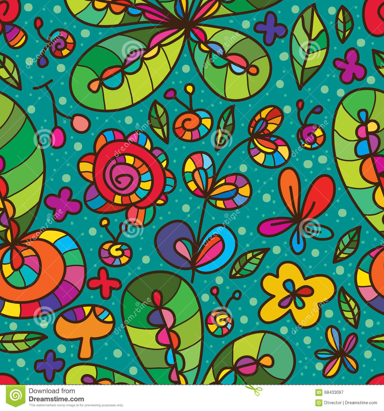 Wild flower green color drawing seamless pattern