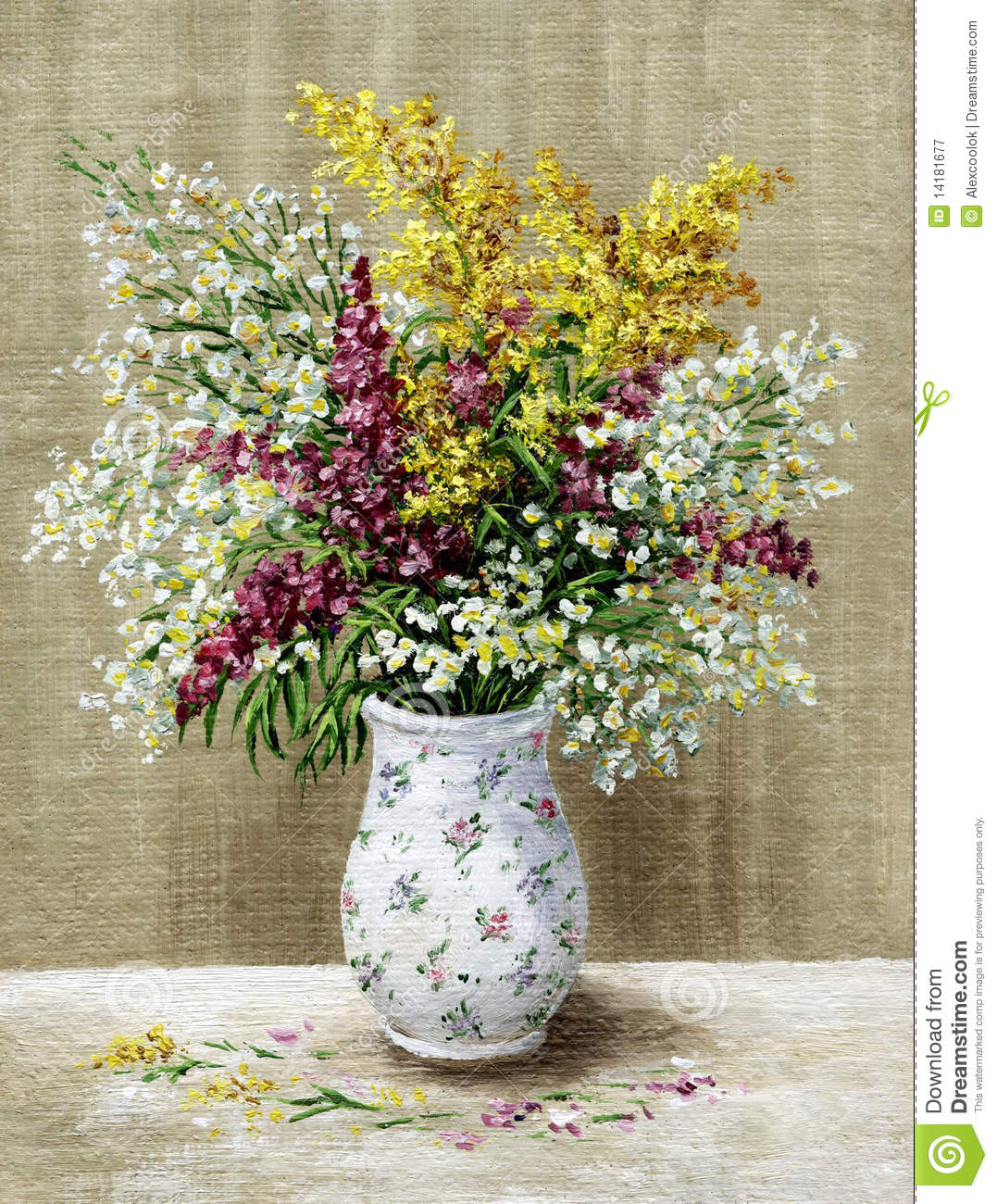 Wild Flowers In A White Vase Stock Illustration Image 14181677