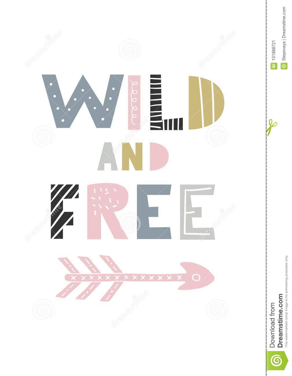 Wild And Free - Unique Hand Drawn Nursery Poster With Handdrawn