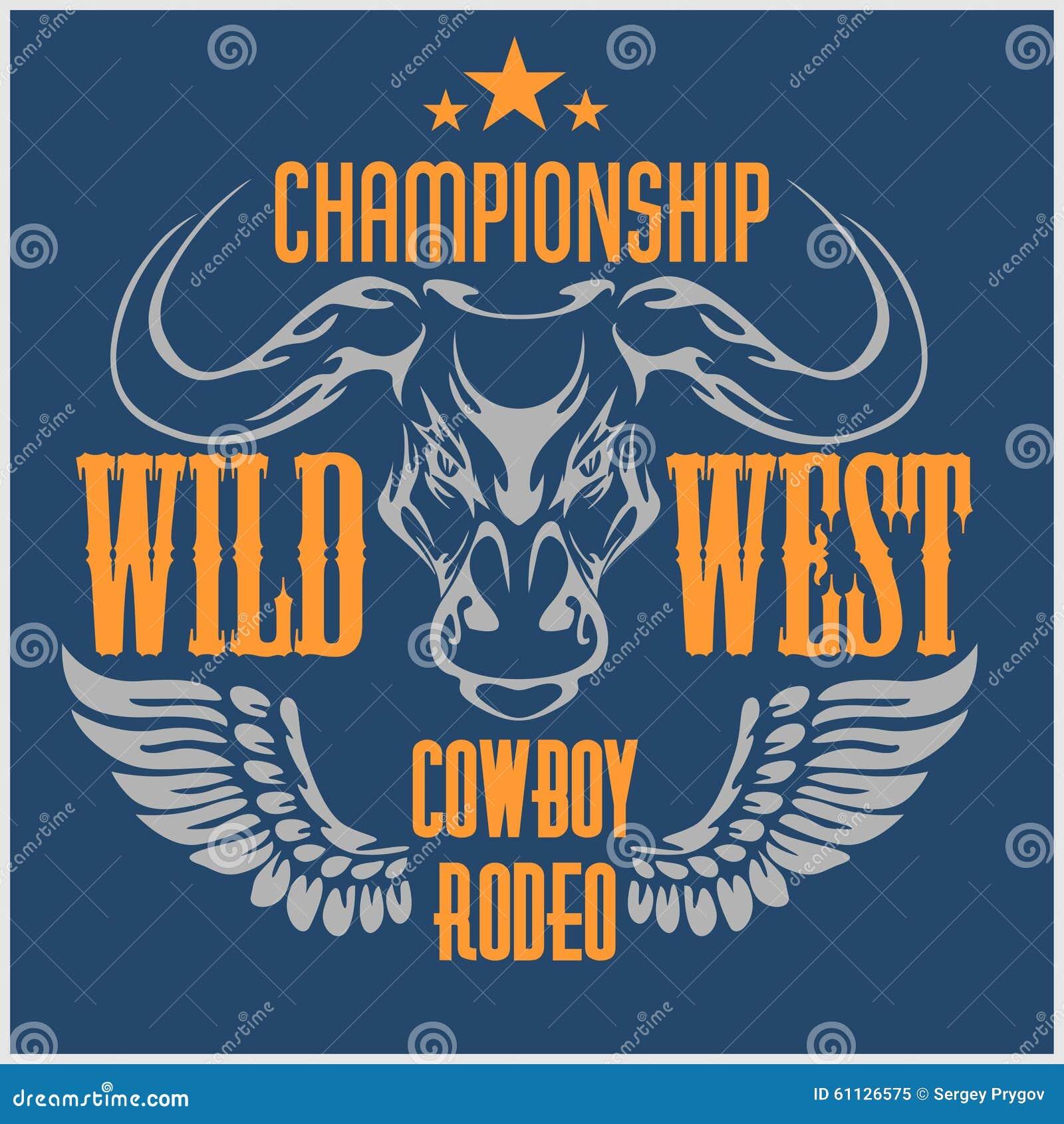 Wild het westenkampioenschap - cowboyrodeo Vector