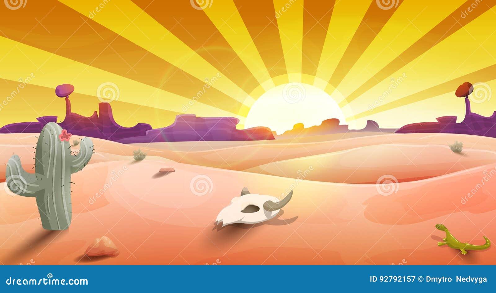 Wild het westenlandschap met woestijn bij zonsondergang, cactus, bergen en scull