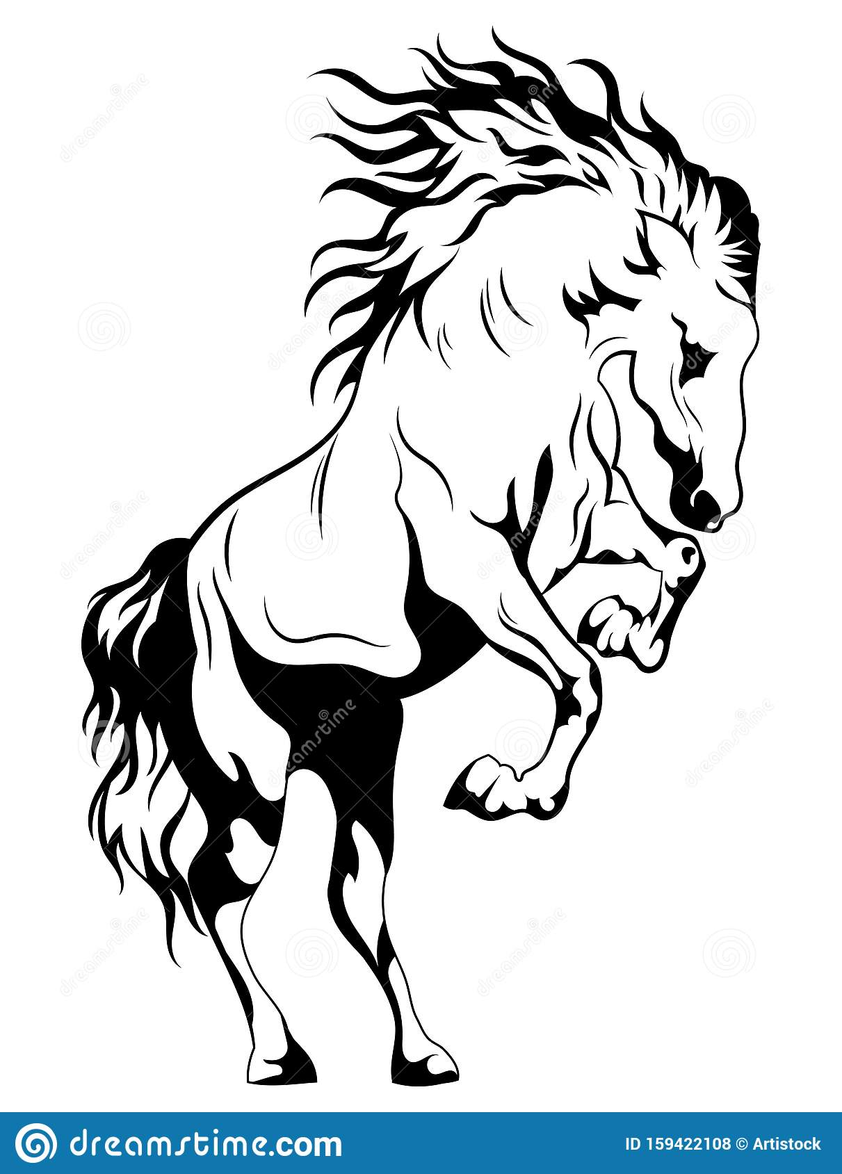 Wild Horse Black And White Illustration Of A Mustang Standing On Its Hind Legs Vector Drawing Of A Farm Animal Tattoo Stock Vector Illustration Of Attractive Cute 159422108