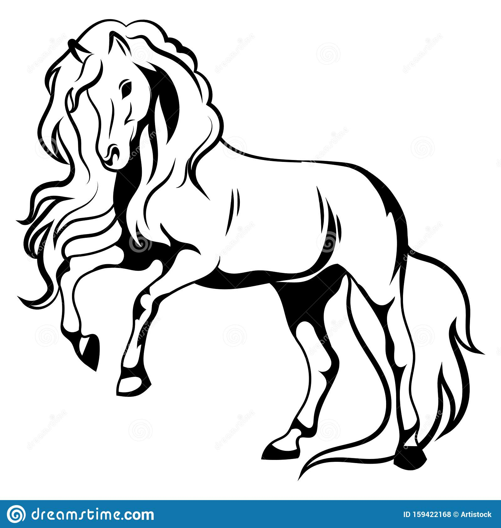 Wild Horse Black And White Illustration Of A Mustang Standing On Its Hind Legs Vector Drawing Of A Farm Animal Tattoo Stock Vector Illustration Of Jump Power 159422168