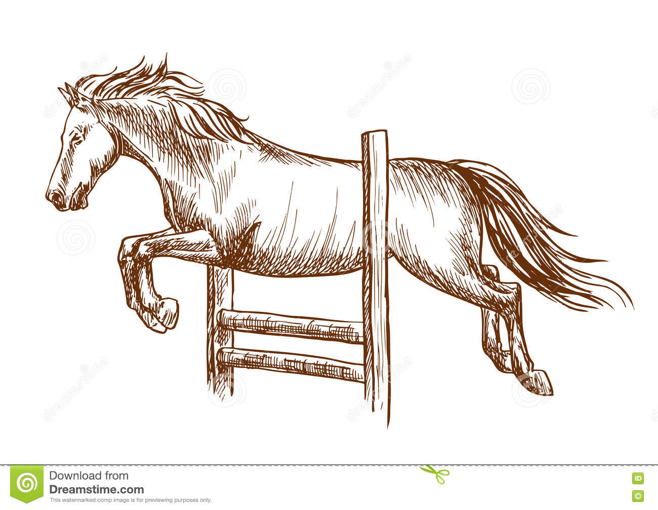 Wild Horse Jumping Over Barrier Stock Vector Illustration Of Hopping Racing 77836616