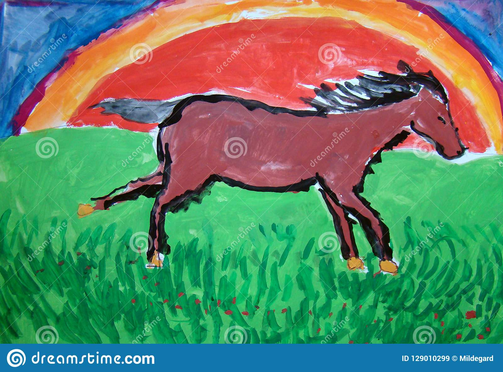 Wild Horse Running Gouache Painting Made By Child Stock Illustration Illustration Of Field Painting 129010299