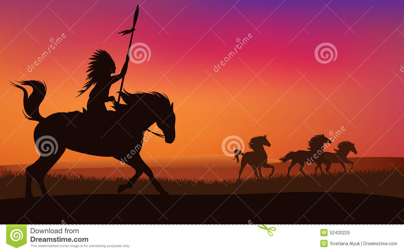 wild horses and indian stock vector image 52420225 Indian Chief Headdress Tile Clip Art Indian Feather Headdress Clip Art