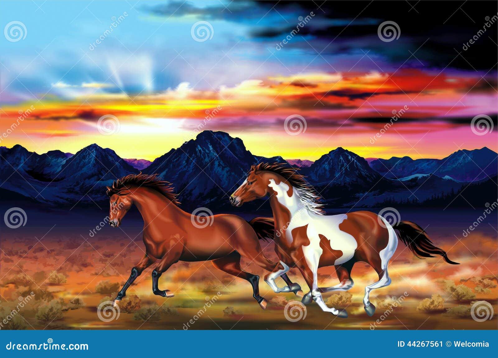 Wild Horses Run Illustration Stock Illustration Illustration Of Running Spirit 44267561