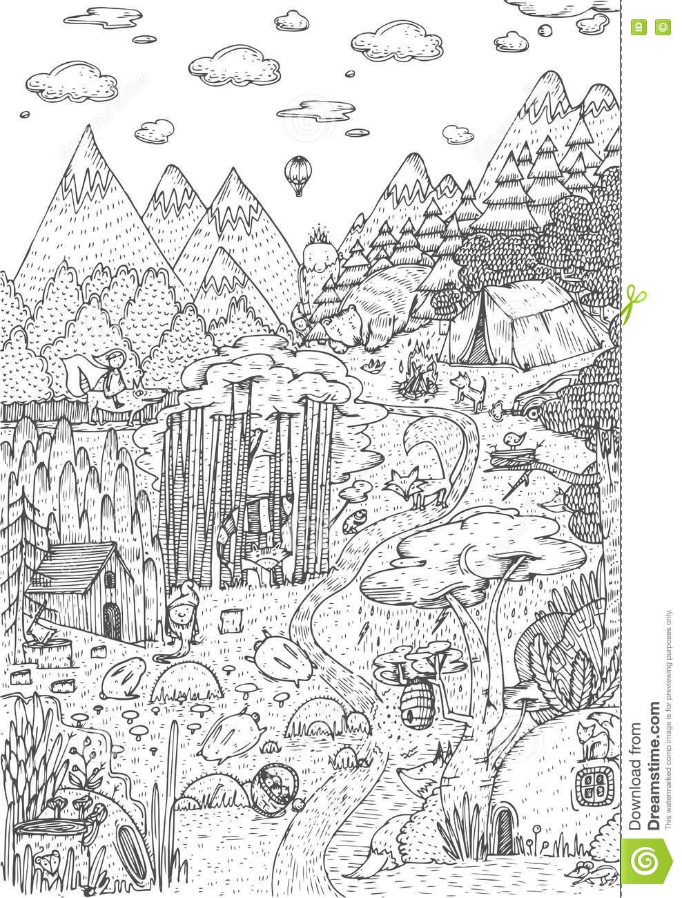 Royalty Free Vector Download Wild Life In Forest Drawn Line Art Style Coloring Book