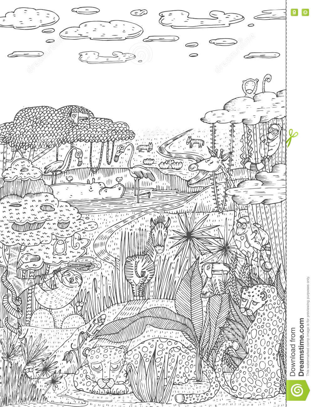 Line Art Jungle : Wild life in jungle drawn line art style coloring book