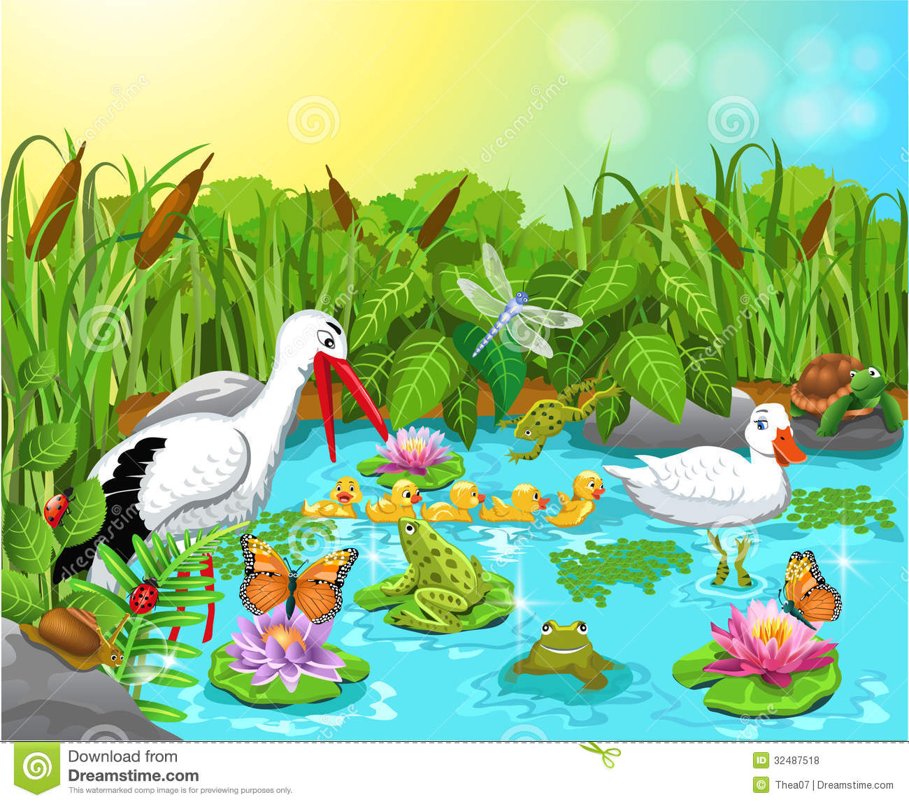 Wild Life In The Pond Royalty Free Stock Photos Image