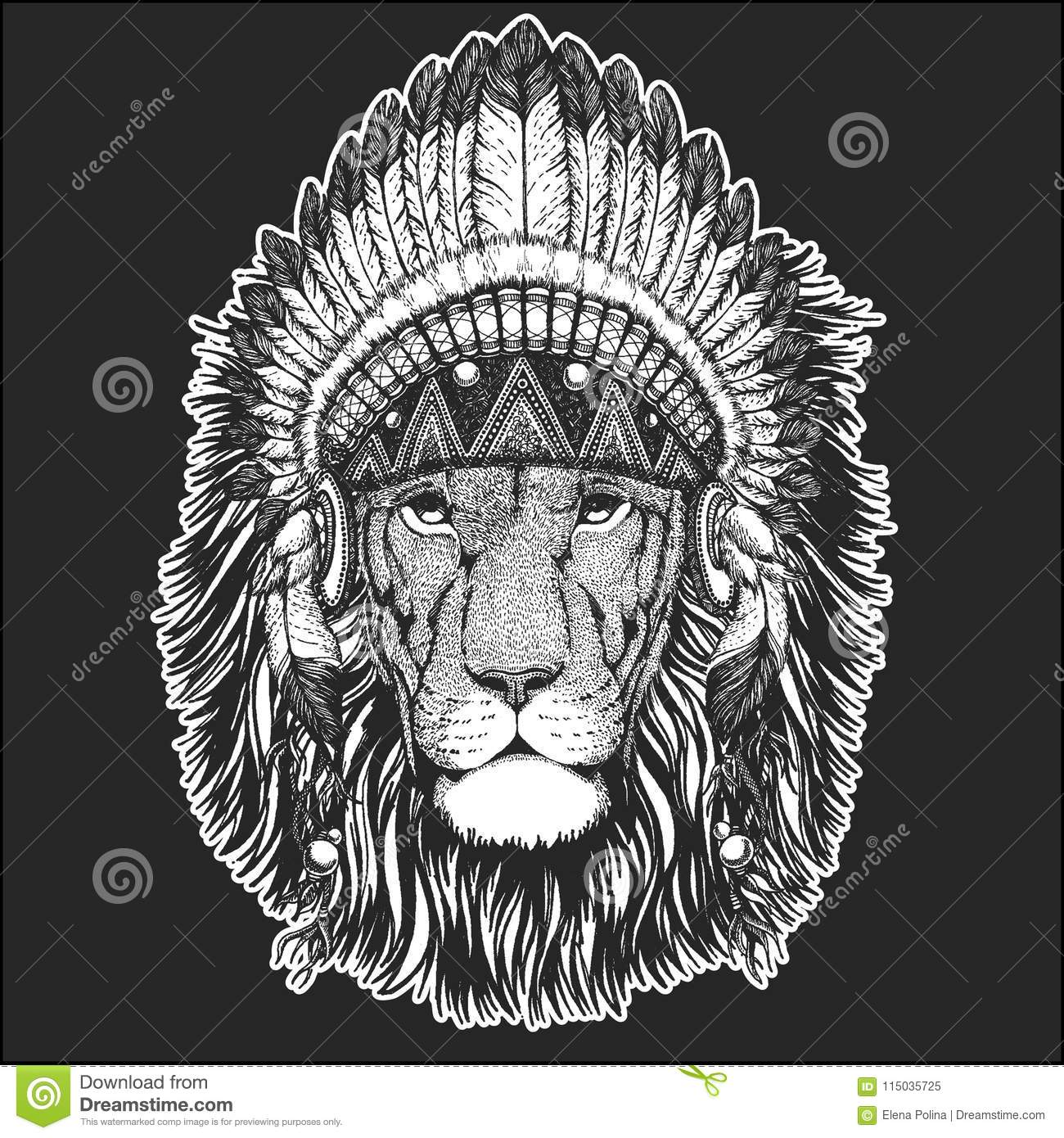 Wild Lion Cool Animal Wearing Native American Indian Headdress With