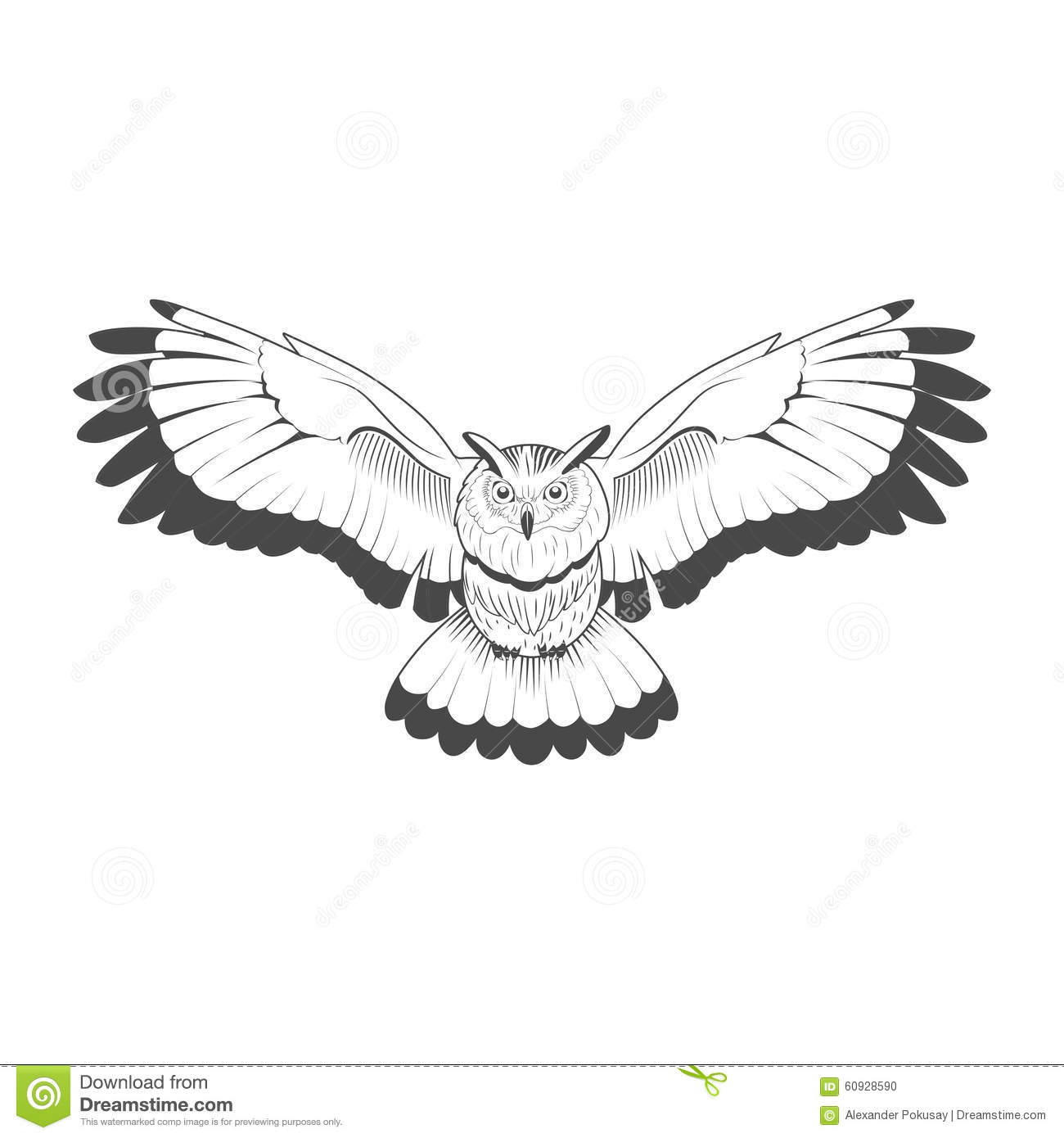 wild owl emblem black and white vector stock vector