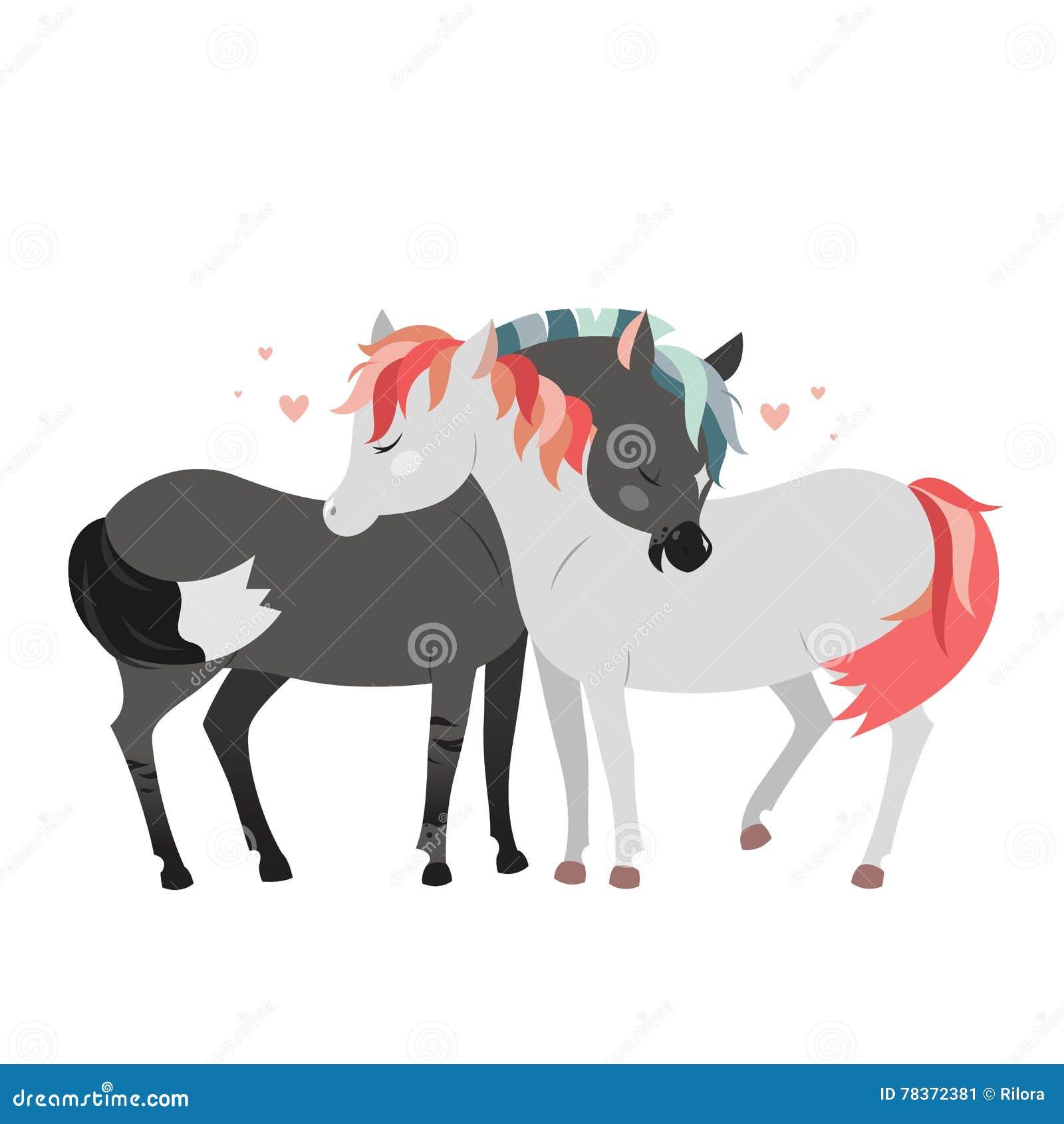 Wild paarden het koesteren Romantisch klemart.