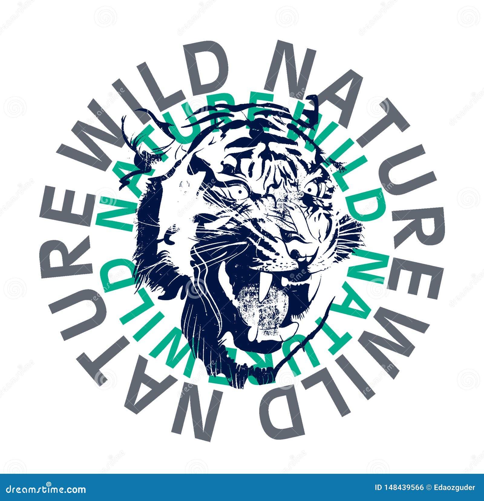 wild tiger graphic, t-shirt print