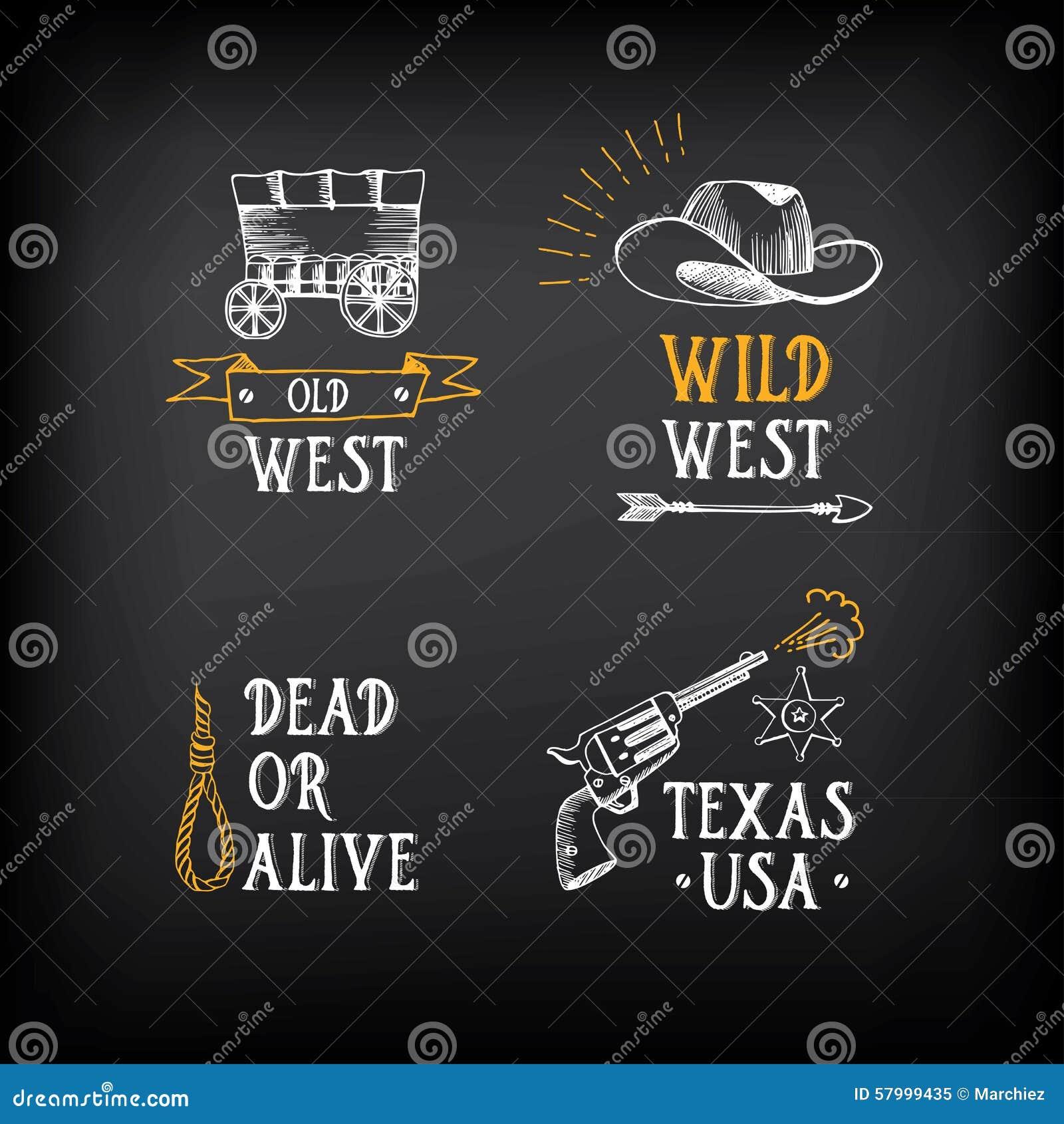 Wild west badges design vintage western elements vector for Wild design