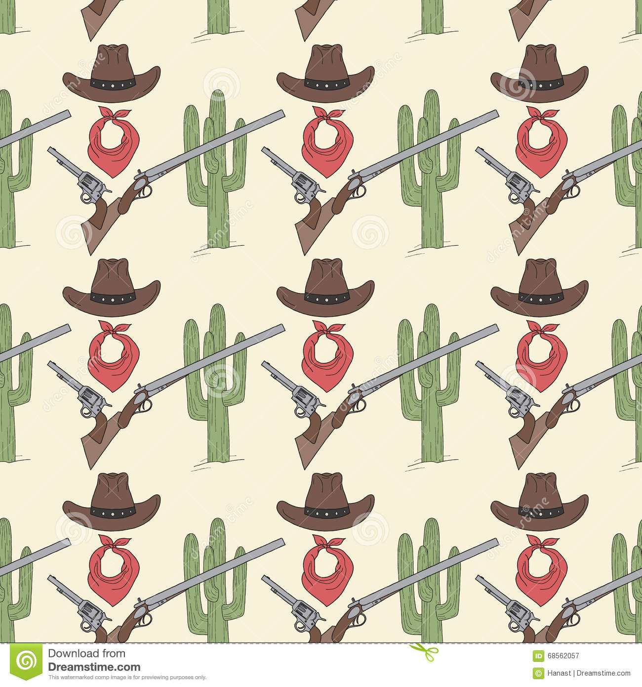 Wild West Colored Hand Drawn Seamless Pattern Stock Vector ...