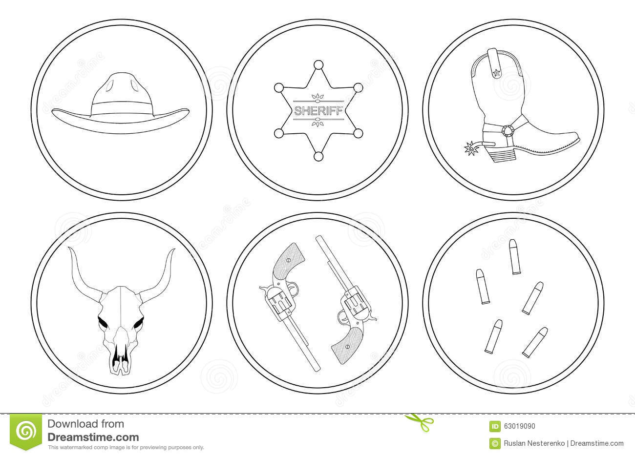 wild west contour lines objects set stock vector