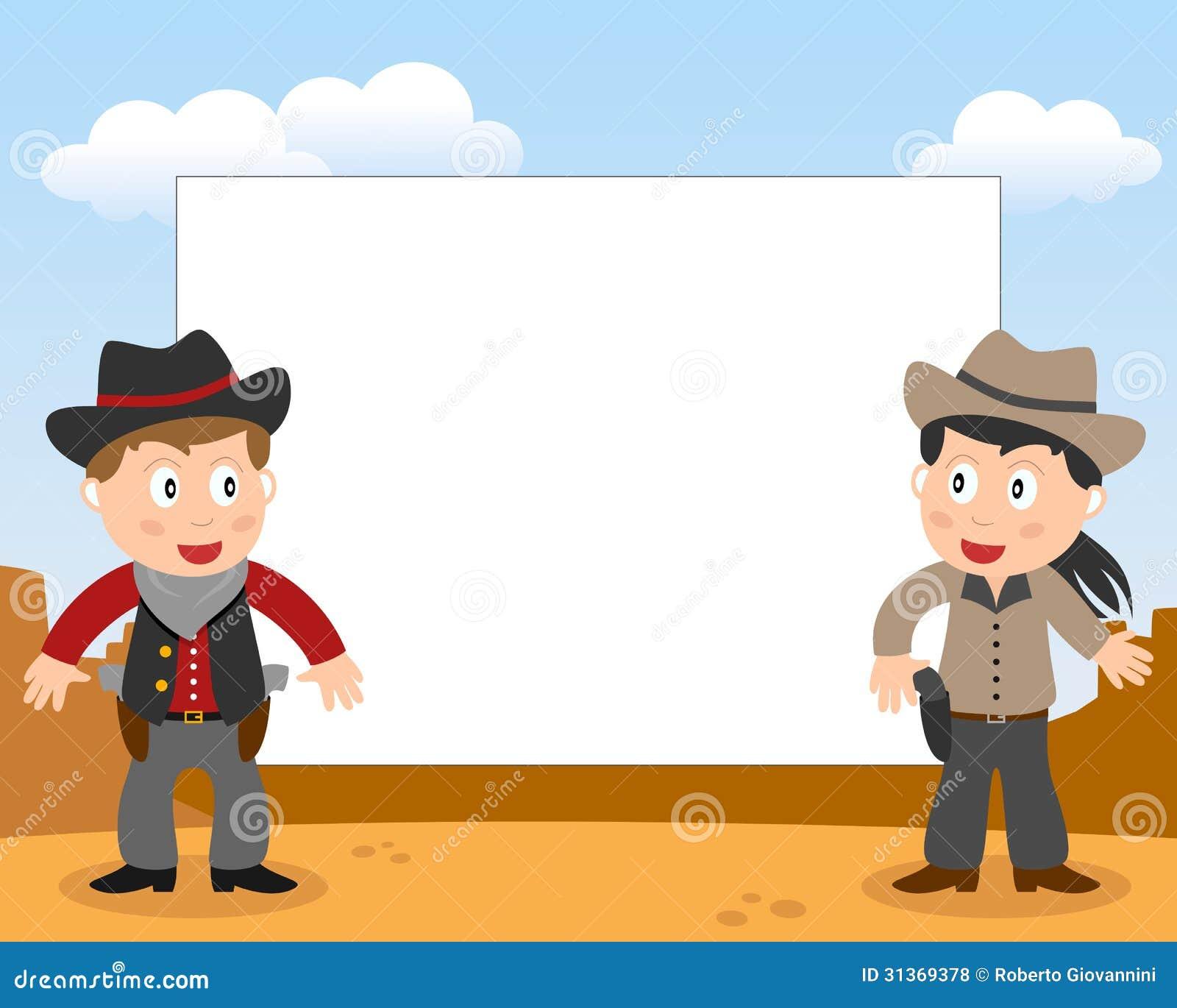 wild west cowboys photo frame stock vector illustration of handgun rh dreamstime com Cowboy Hat Clip Art Cartoon Cowboy