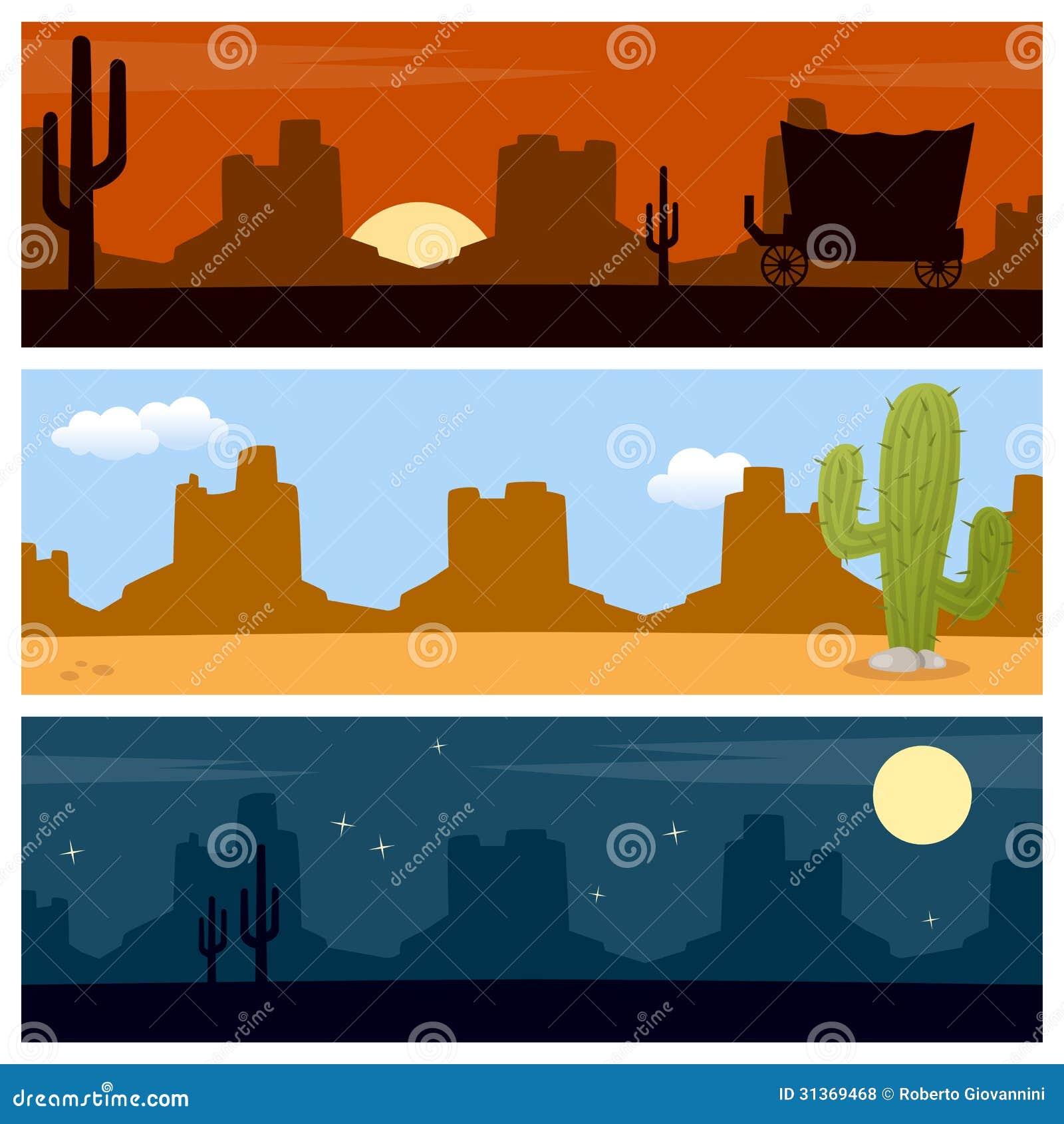 Wild West Desert Banners Western Desert Clipart