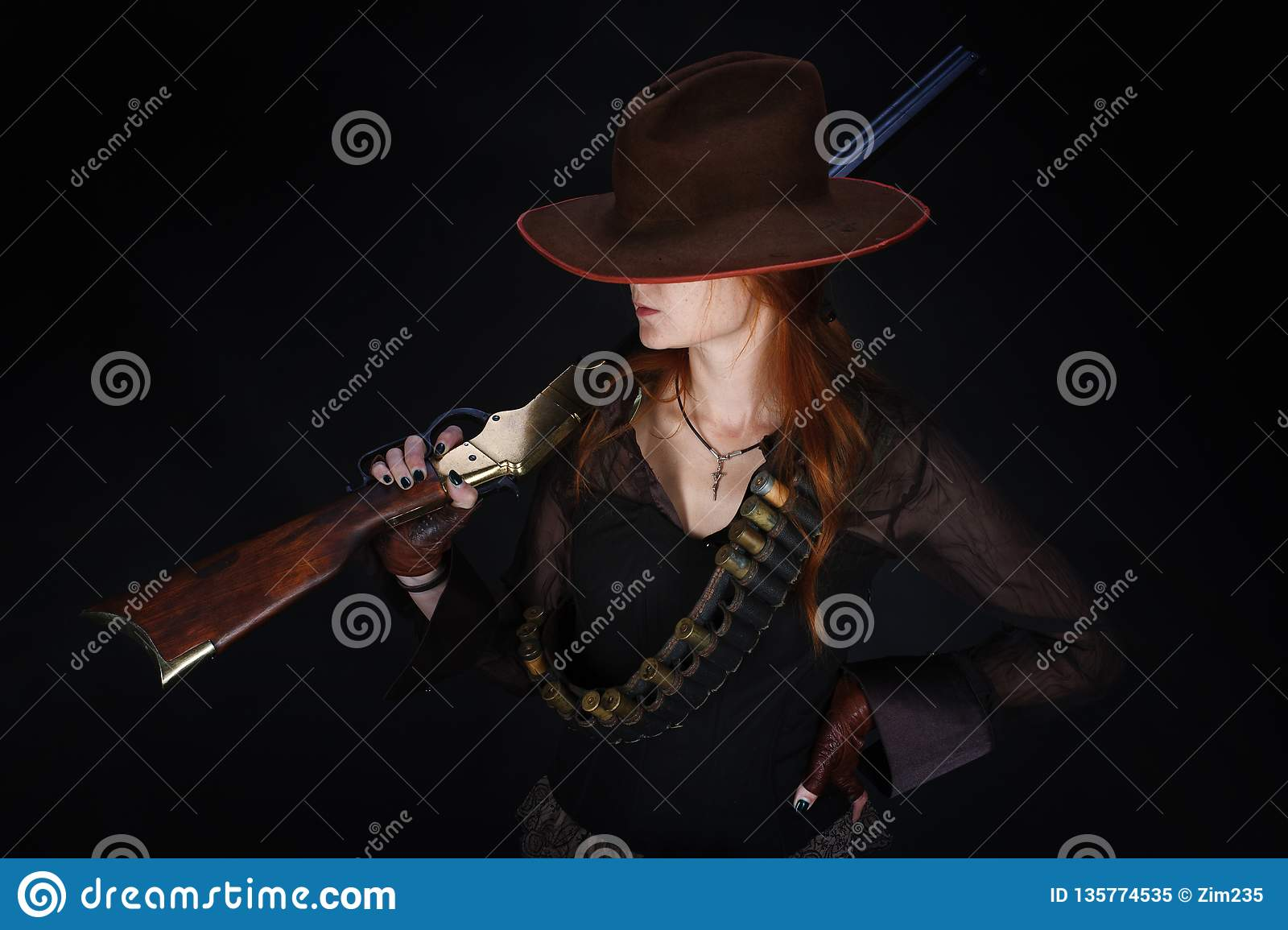 Wild west girl with rifle