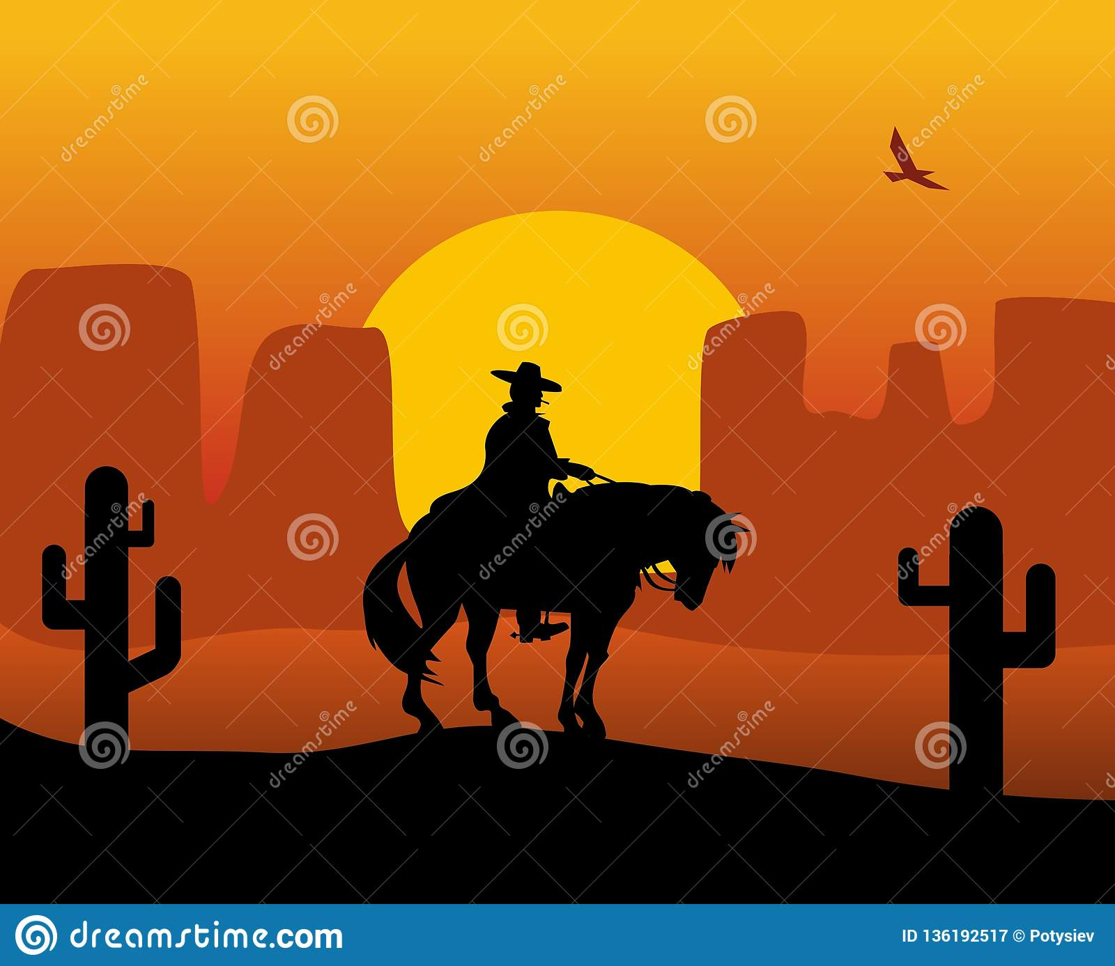 Wild West Gunslinger In A Raincoat Riding A Horse Background The Desert Stock Vector Illustration Of Riding American 136192517