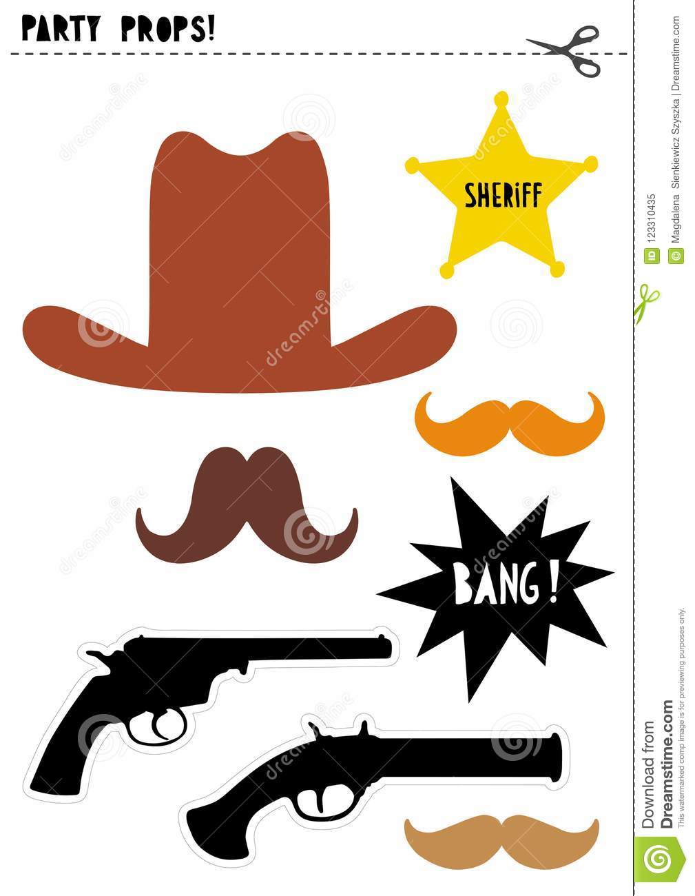 Wild West Photo Booth Vector Props Set Diy Cowboy Party Stock