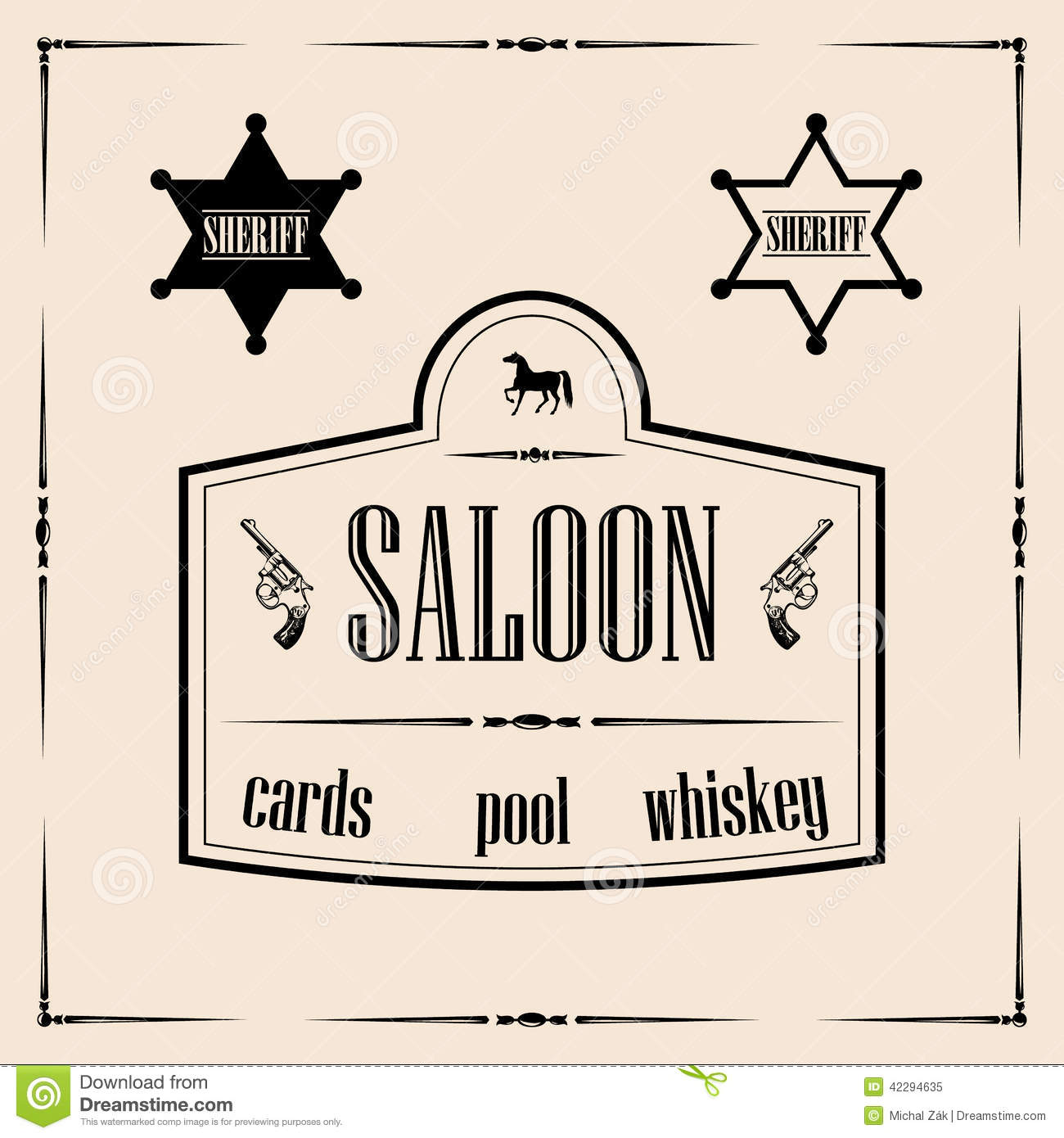 Wild West Related Illustrations   Saloon Sign With Sheriff Stars