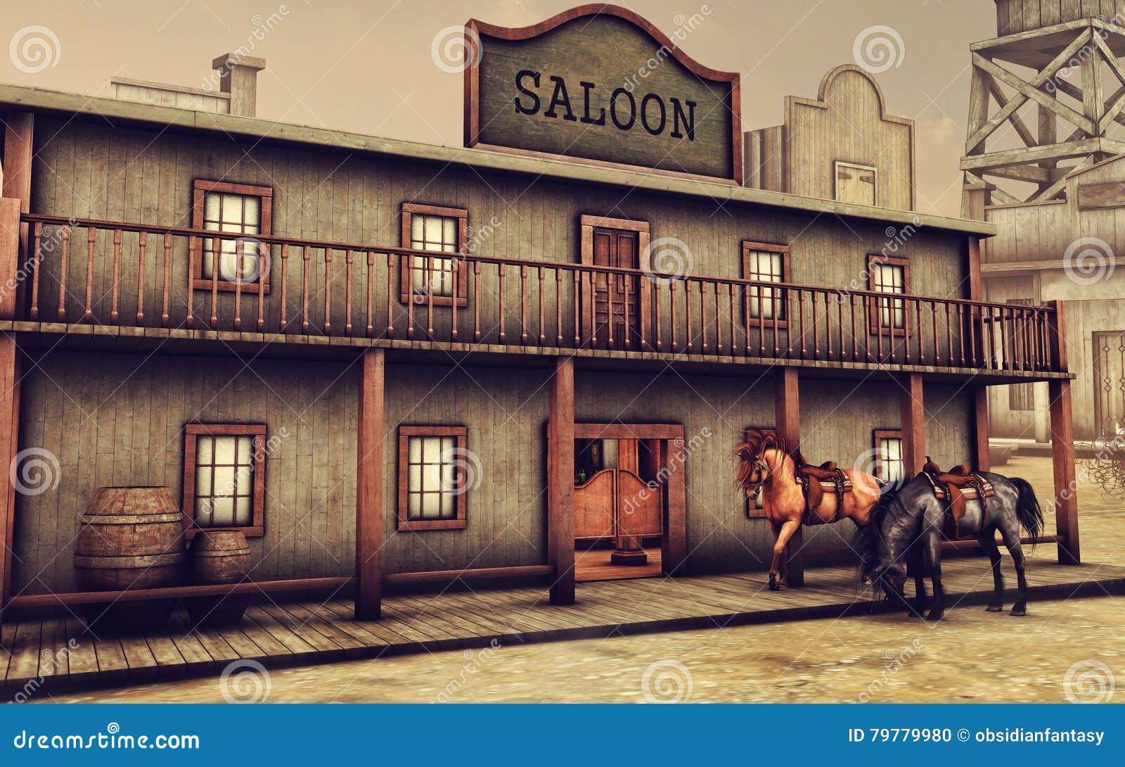 wild west saloon and horses stock illustration image 79779980. Black Bedroom Furniture Sets. Home Design Ideas