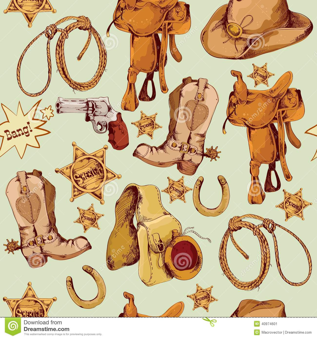 Wild West Seamless Pattern Colored Stock Vector - Image ...