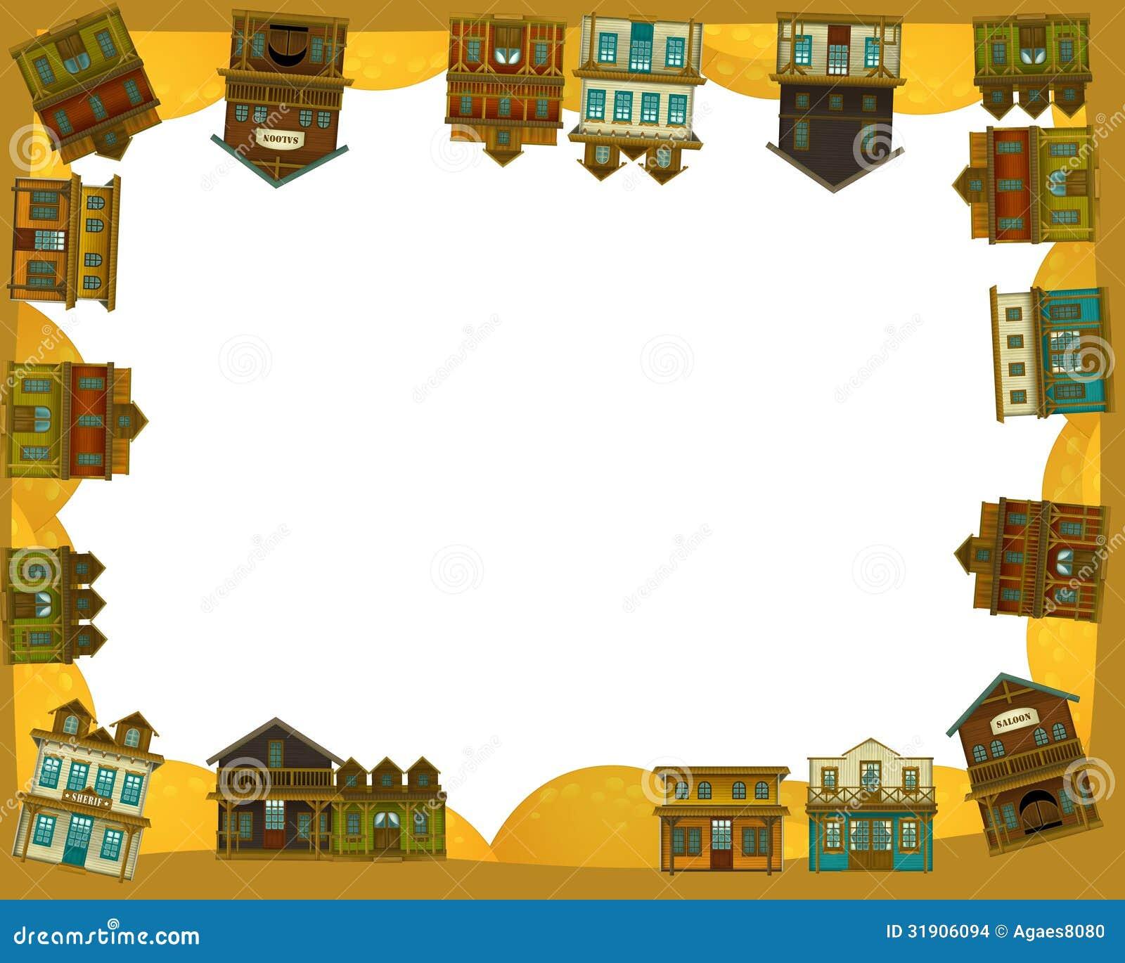 The Wild West Western Frame Border Template Illustration