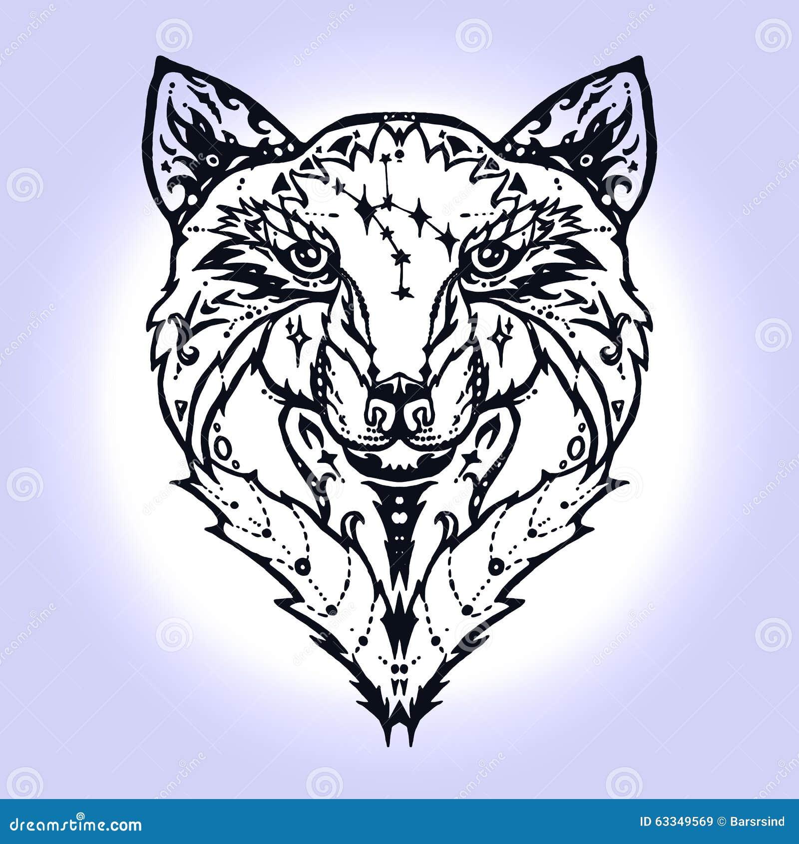 Line Art Wolf Tattoo: Wild Wolf Tattoo Stock Illustration. Illustration Of Boho