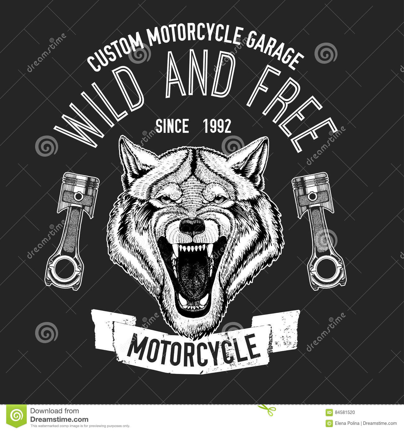 Wild Wolf Vector Image For Motorcycle T-shirt, Tattoo