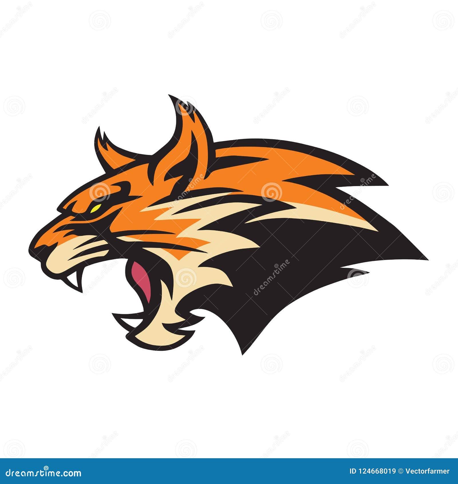 Wildcat irritado Logo Mascot Vetora Illustration do lince